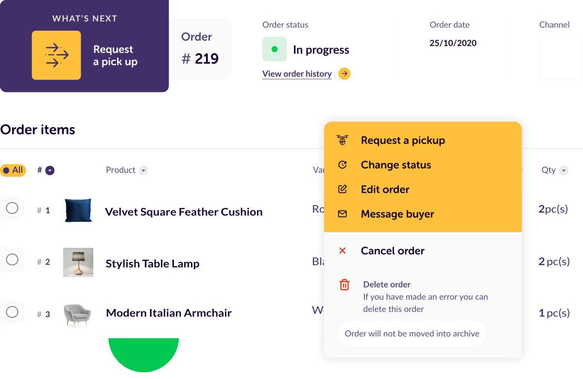 ordered-items mobile